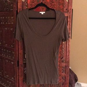 James Perse Army Green Scoop Neck